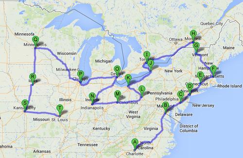 Sample tour routing
